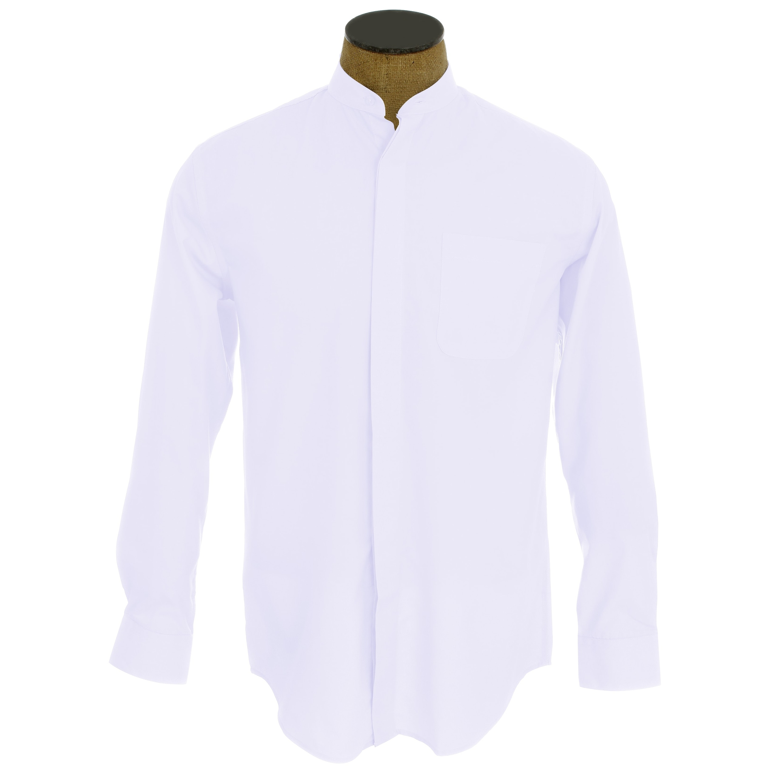 Shop Mens Collarless Banded Collar Dress Shirt Free Shipping On