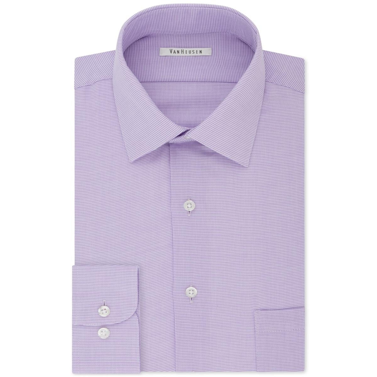d2d8ea9b Shop Van Heusen Mens Dobby Button-Down Shirt Regular Fit Micro Houndstooth  Purple - 16 34/35 - Free Shipping On Orders Over $45 - Overstock - 26282638