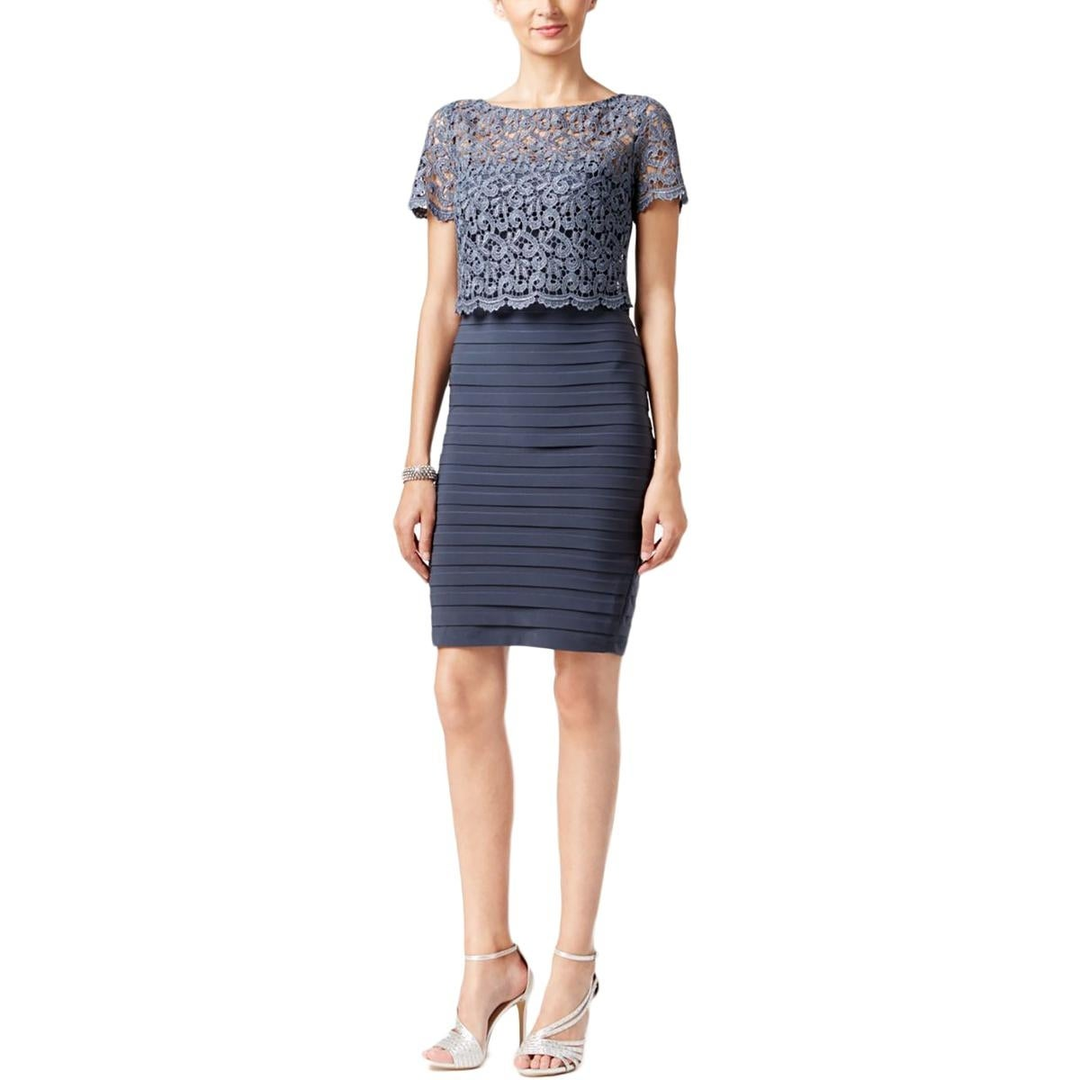 Betsy & Adam Womens Cocktail Dress Lace Popover Metallic - Free ...