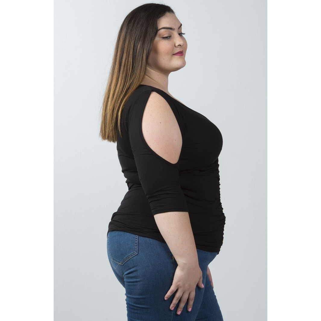 779a6b50b7ad1b Shop Ladies Fashion Plus Size V Neckline Slit Sleeve Ruched Front Top - Size  - 3Xl - Free Shipping On Orders Over $45 - Overstock - 23163430