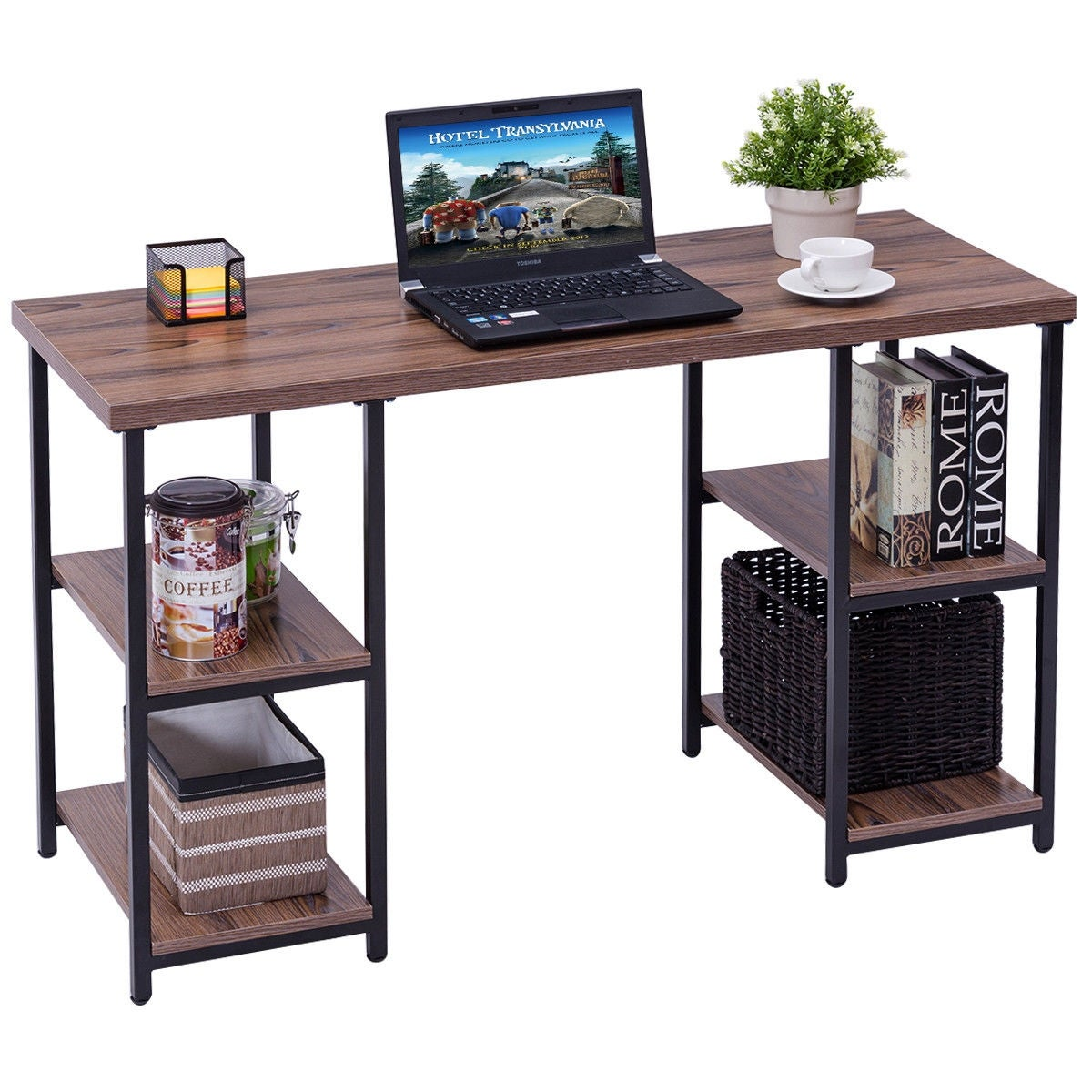 Superior Costway Computer Desk PC Laptop Table Writing Study Workstation With 4  Storage Shelves   Free Shipping Today   Overstock   24814034