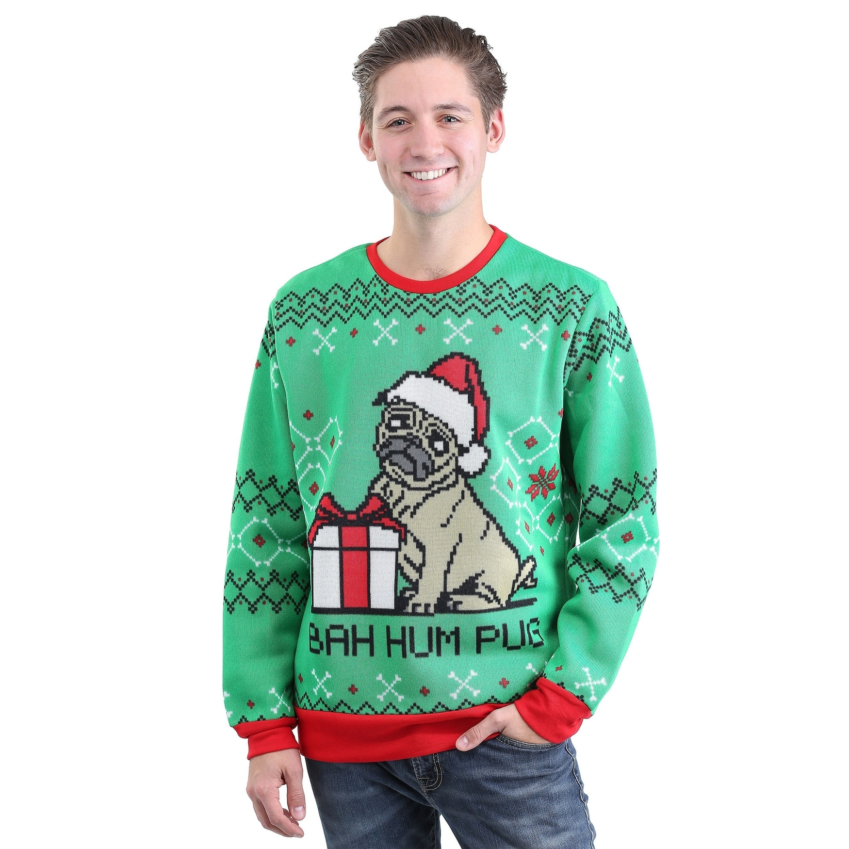 shop bah hum pug adult ugly christmas sweater free shipping on orders over 45 overstockcom 18707378 - Adult Ugly Christmas Sweater