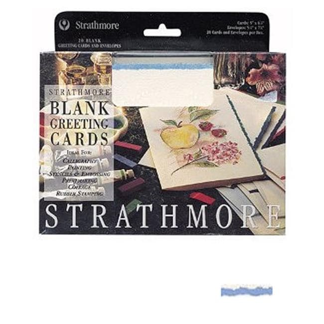 Strathmore blank greeting cards deckle edge white with blue deckle strathmore blank greeting cards deckle edge white with blue deckle free shipping on orders over 45 overstock 28130613 m4hsunfo