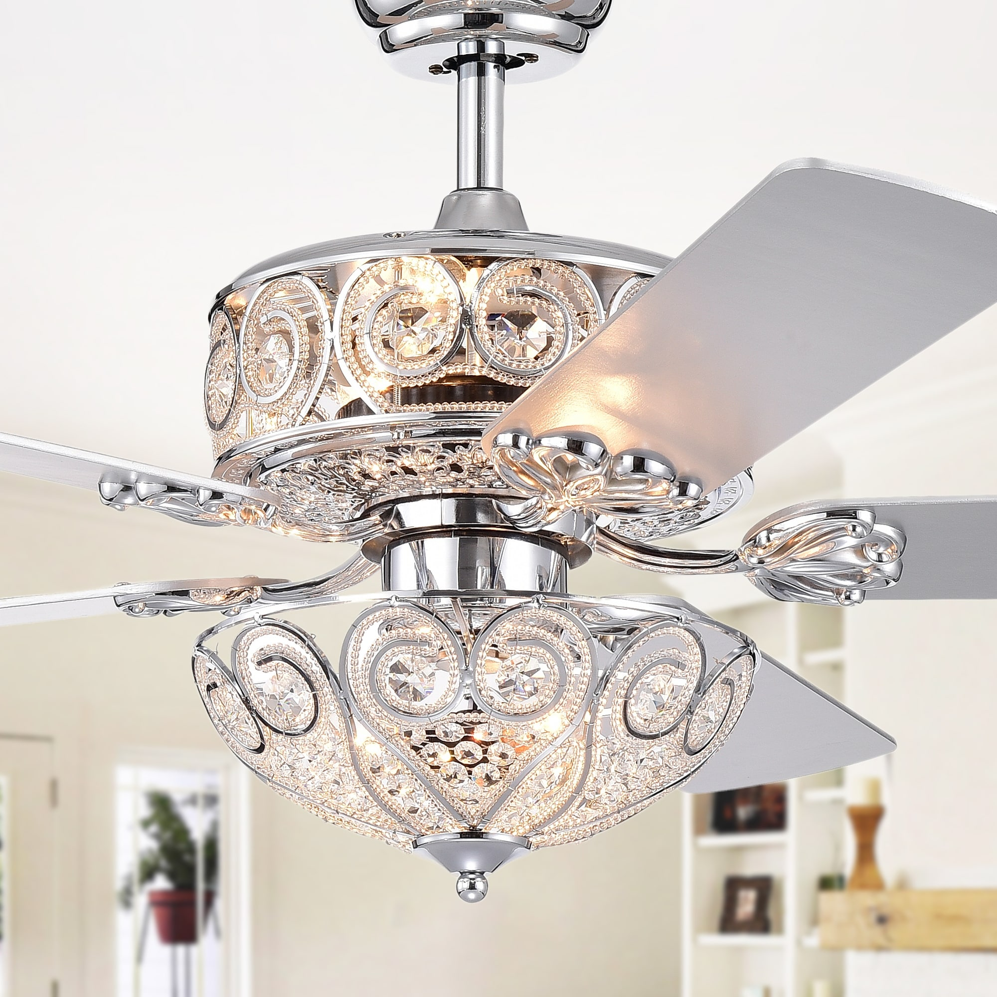 Shop Catalina Chrome Finish 5 Blade 52 Inch Crystal Ceiling Fan