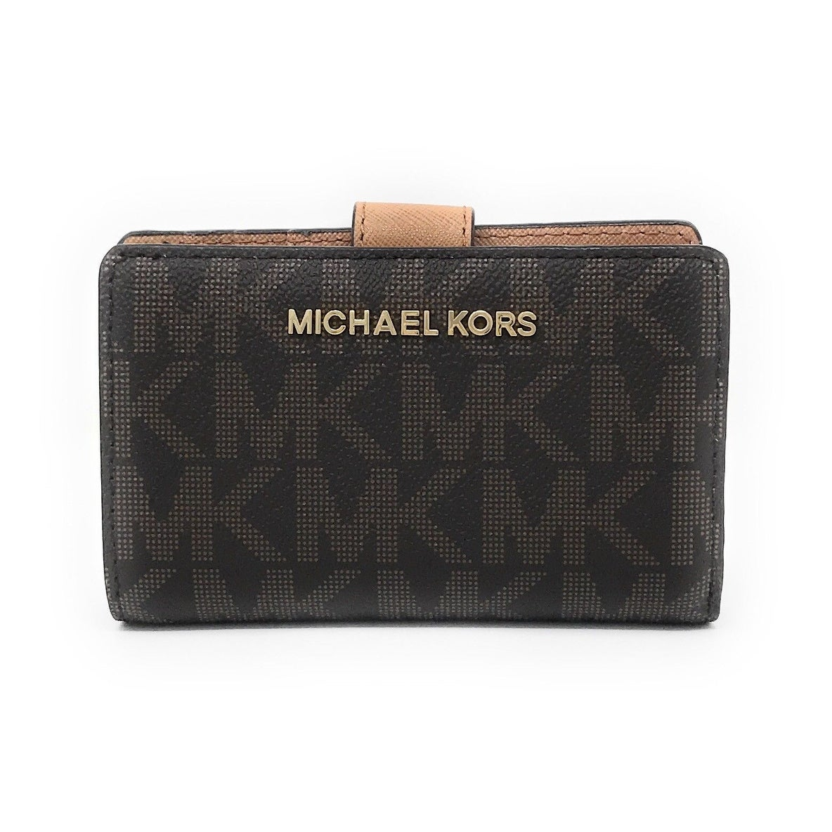 a530bf8904e4 Shop Michael Kors Jet Set Travel Bifold Zip Coin Wallet - Brown ...