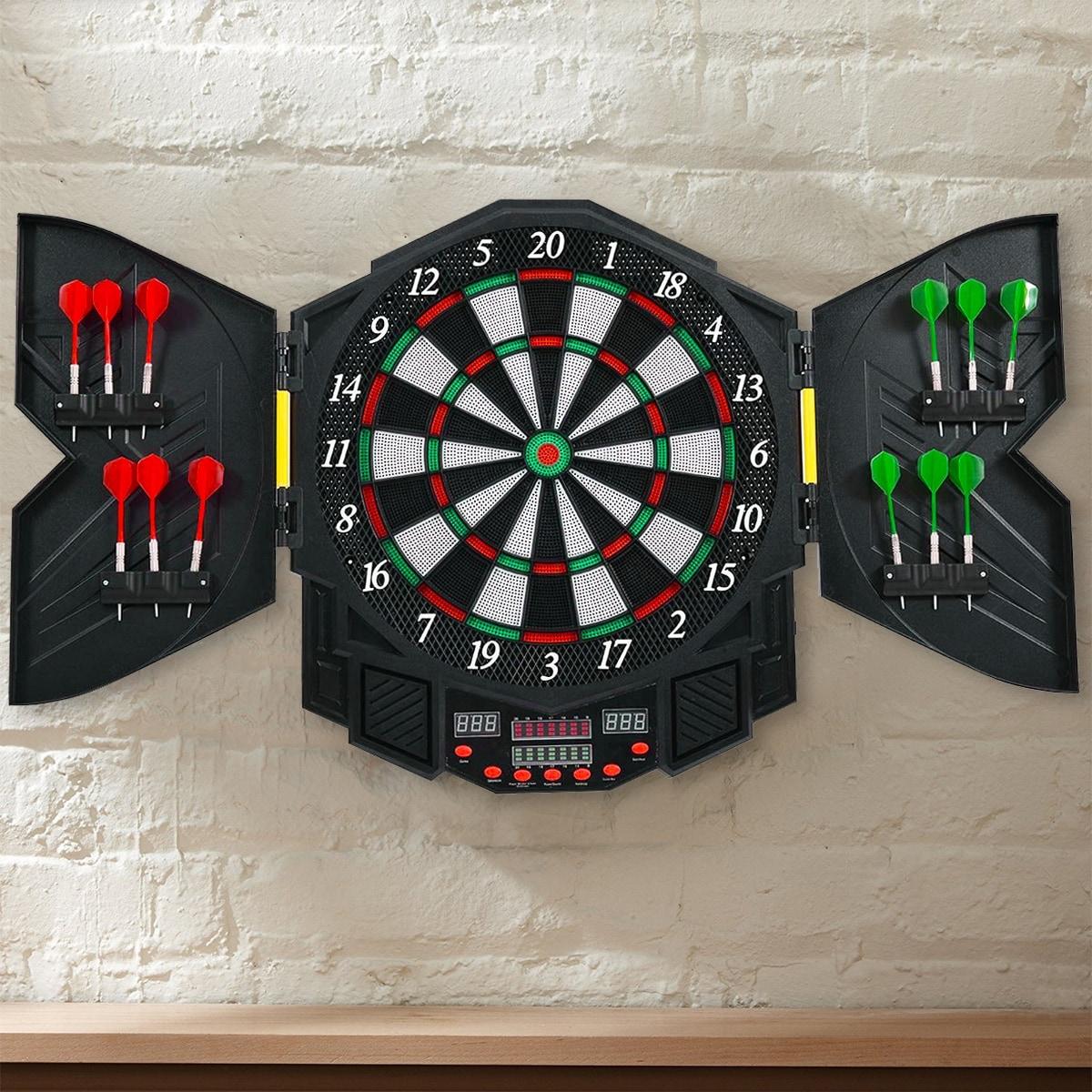 shop costway professional electronic dartboard cabinet set w 12