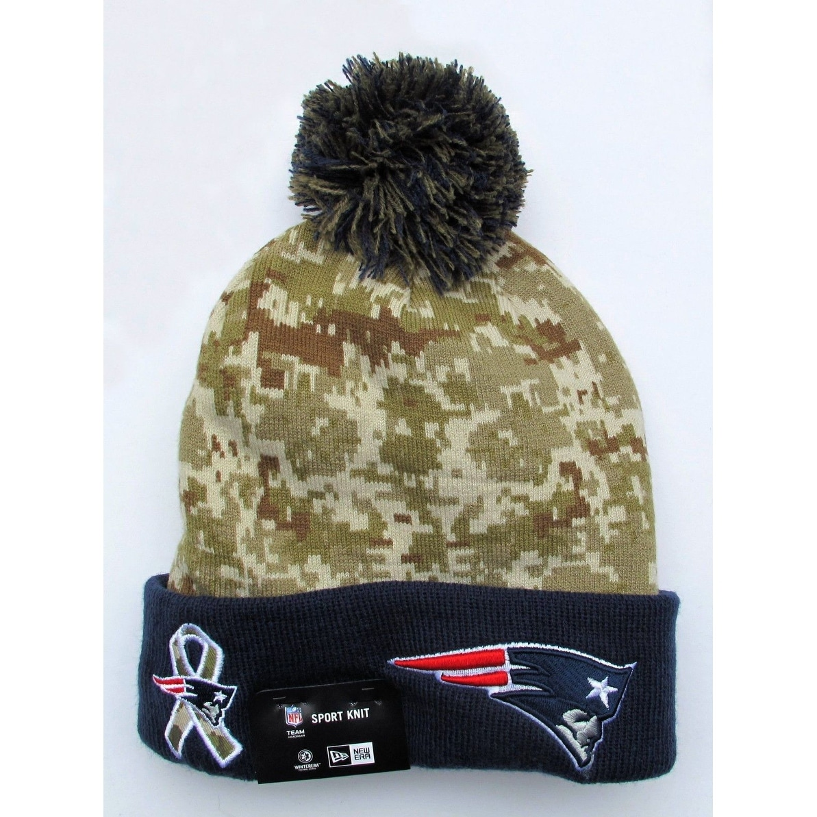 competitive price 28cee 2c4e2 ... inexpensive shop new era nfl 2015 salute knit pom beanie hat new  england patriots free shipping