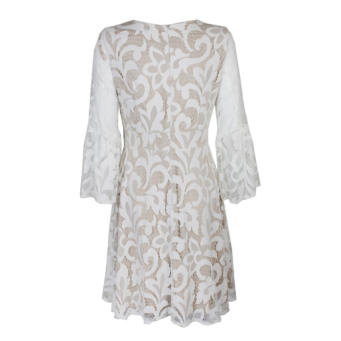 28202b114e133 Shop Jessica Howard Ivory Lace Bell Sleeve Lace Fit & Flare Dress 6 - Free  Shipping On Orders Over $45 - Overstock - 24180153