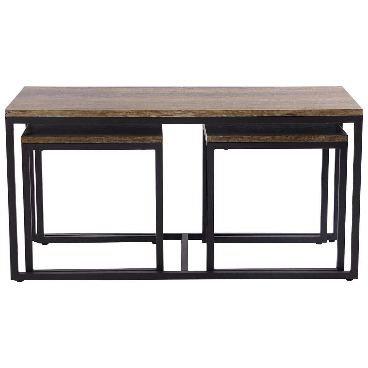 Costway 3 Piece Nesting Coffee & End Table Set Wood Modern Living ...