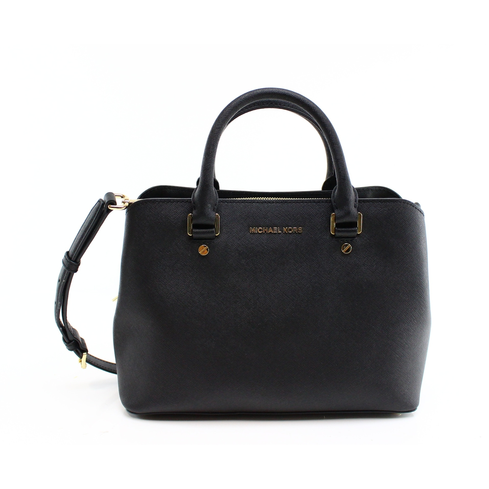 29b74dba9880c5 Shop Michael Kors NEW Black Gold Saffiano Leather Savannah Satchel Handbag  - Free Shipping Today - Overstock - 17858031