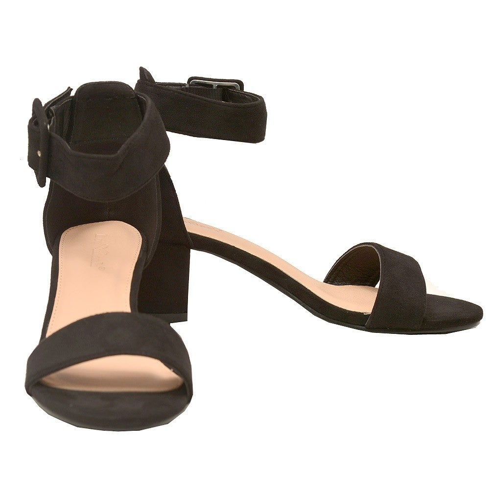 f7063dfe95bf Shop Lov mark Adult Black Faux Suede Open Toe Block Heeled Sandals - Free  Shipping On Orders Over  45 - Overstock - 22466098