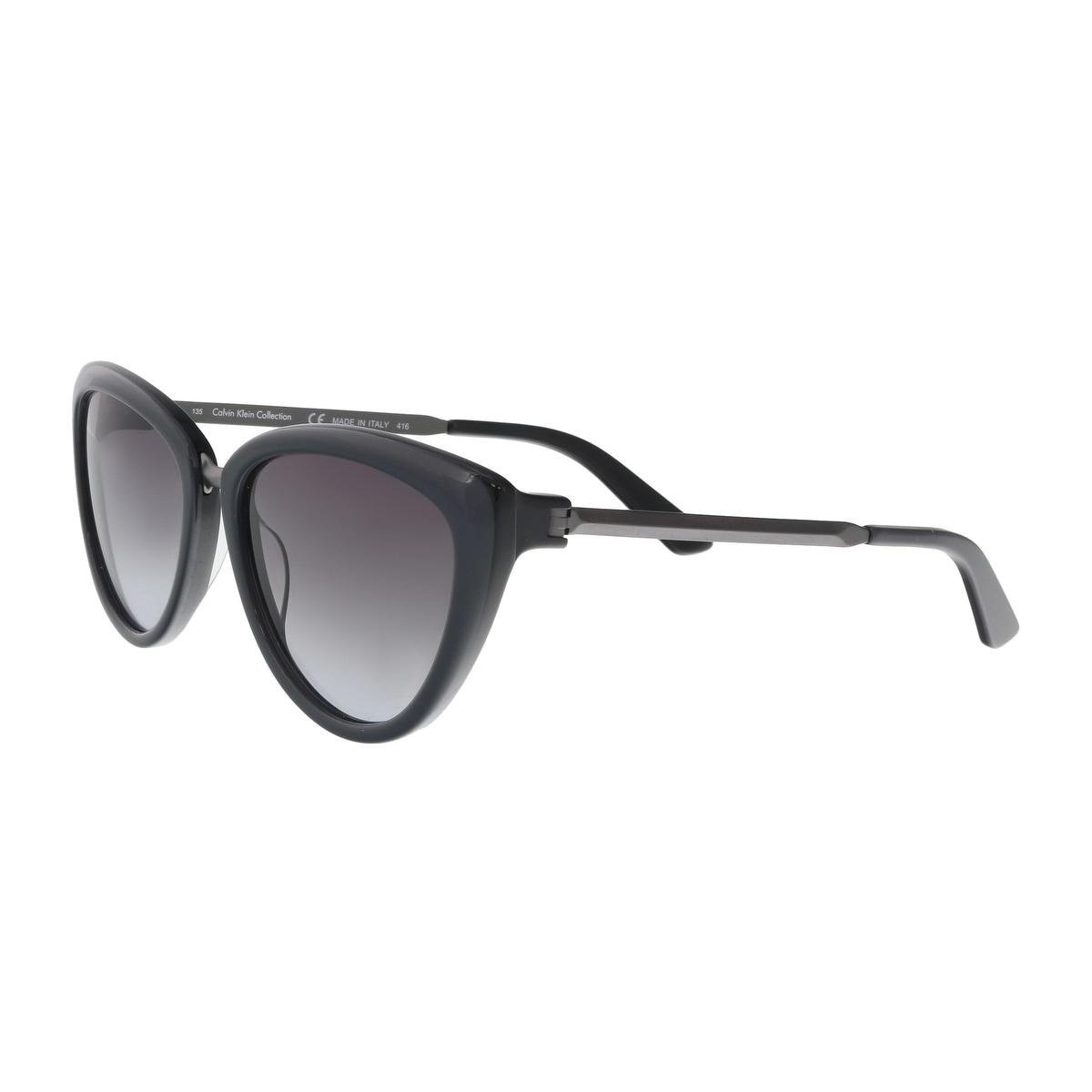 664bec560f Shop Calvin Klein CK8538S 059 Jet Black Cat Eye Sunglasses - 56-17 ...