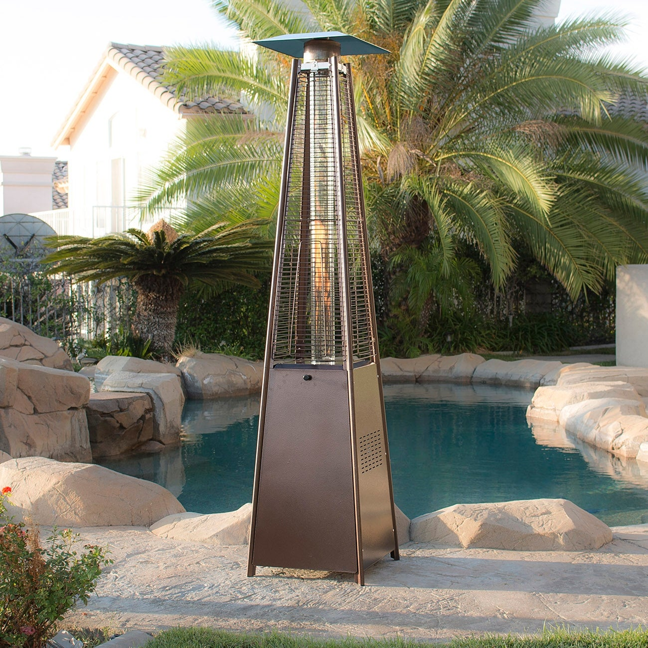 Belleze Patio Heater Pyramid W Dancing Flame Csa Certified 42 000 Btu Hammered Bronze Free Shipping Today 17907079