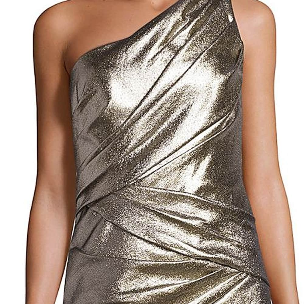 Carmen Marc Valvo Ruched One Shoulder Evening Gown Dress - Free ...