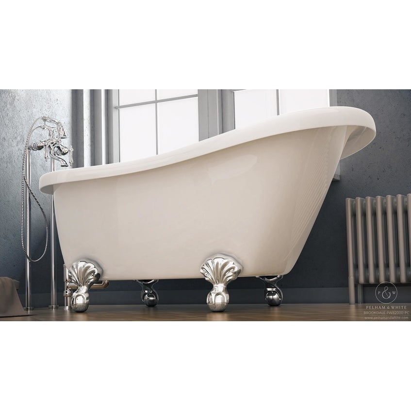 Shop Pelham & White Luxury 60 Inch Clawfoot Slipper Tub with Chrome ...