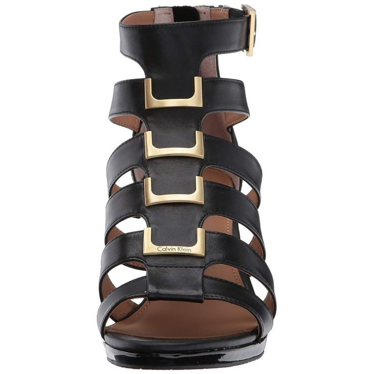 d8f4f7ad524 Shop Calvin Klein Womens Brilla Leather Open Toe Formal Strappy Sandals -  Free Shipping Today - Overstock - 23502855