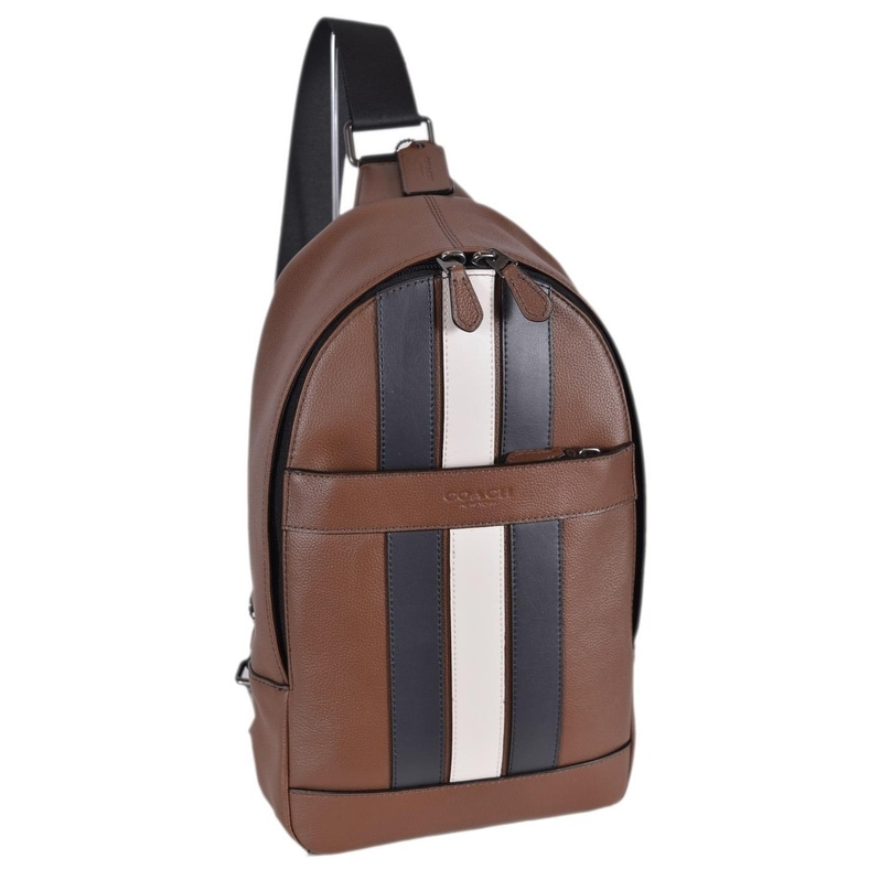 Coach Men s F23215 Charles Leather Varsity Stripe Sling Day Pack Bag - 13