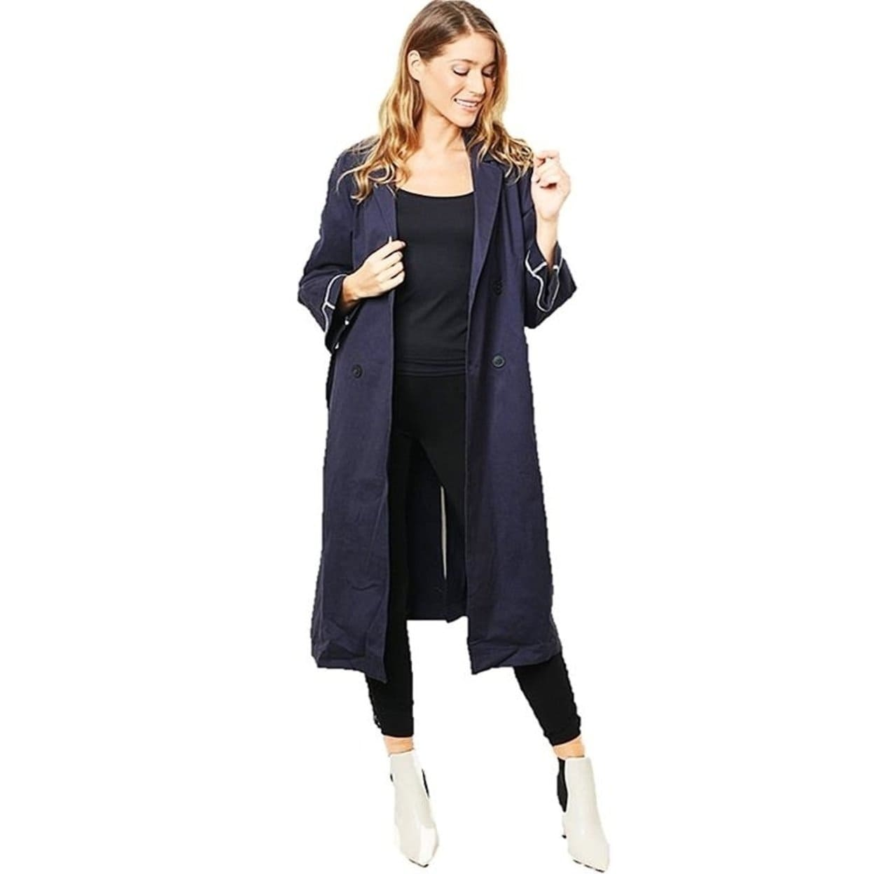 c3ef0a4f9810b Shop Haute London Navy Double Breasted Long Drapey Hunting Trench Coat - On  Sale - Free Shipping Today - Overstock - 27448418