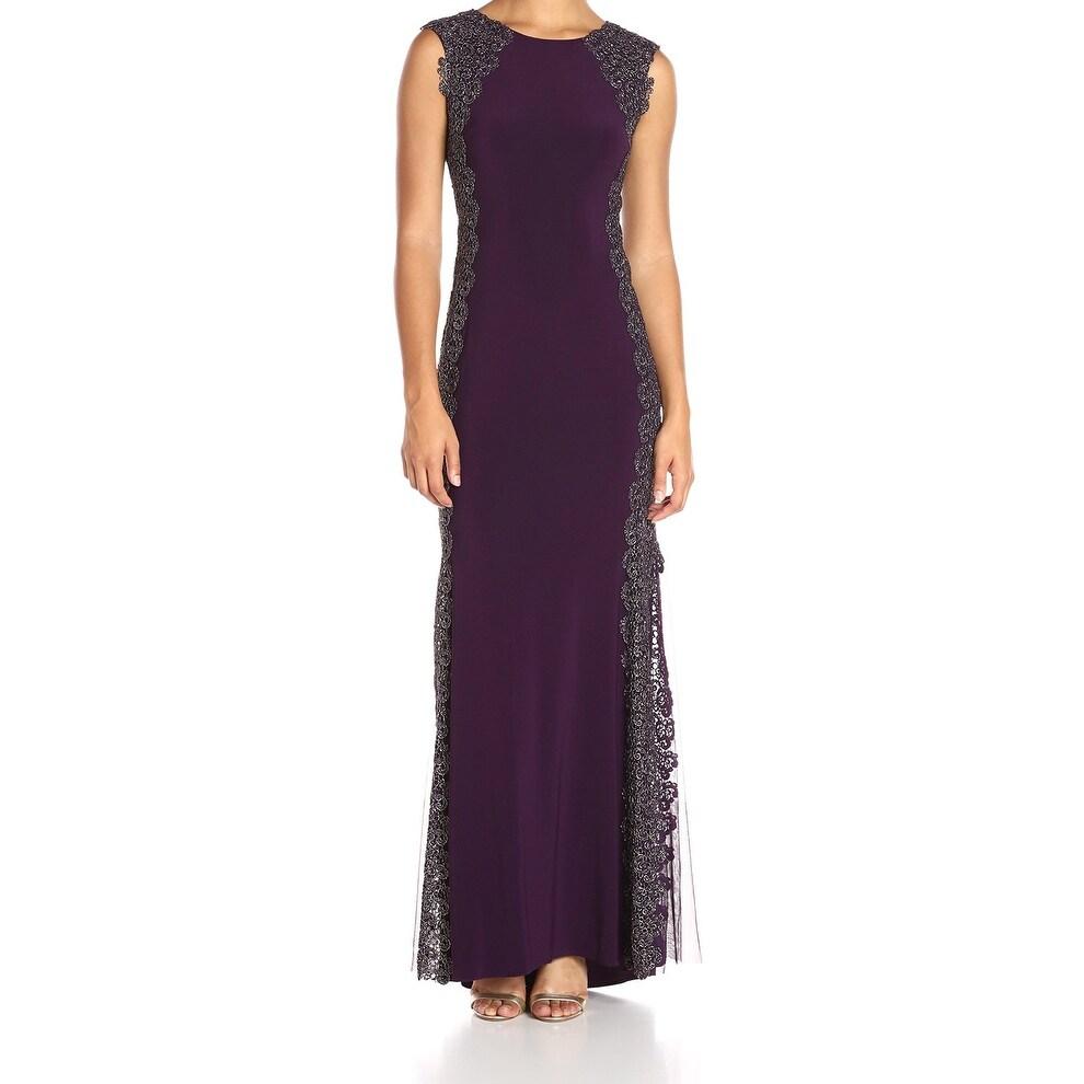 Shop Xscape NEW Purple Gold Women\'s Size 4 Crochet Lace Trim Ball ...