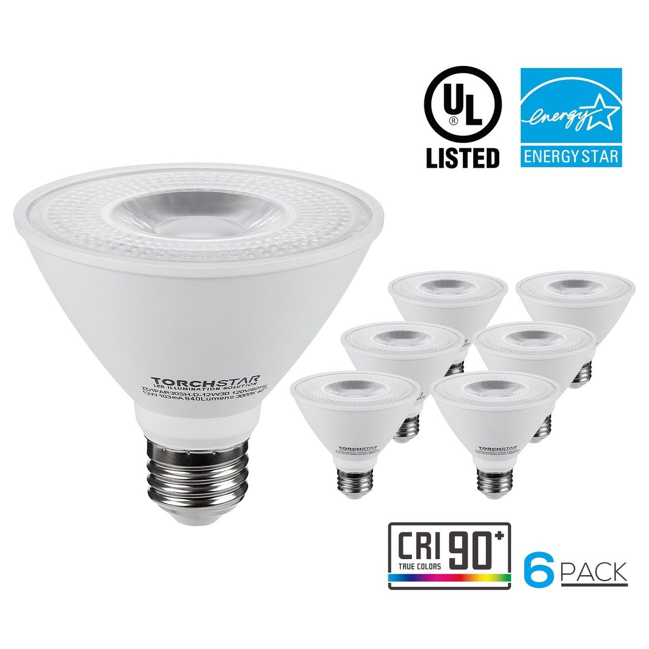 shop 1 6 pack dimmable 12w par30s led light bulb short neck