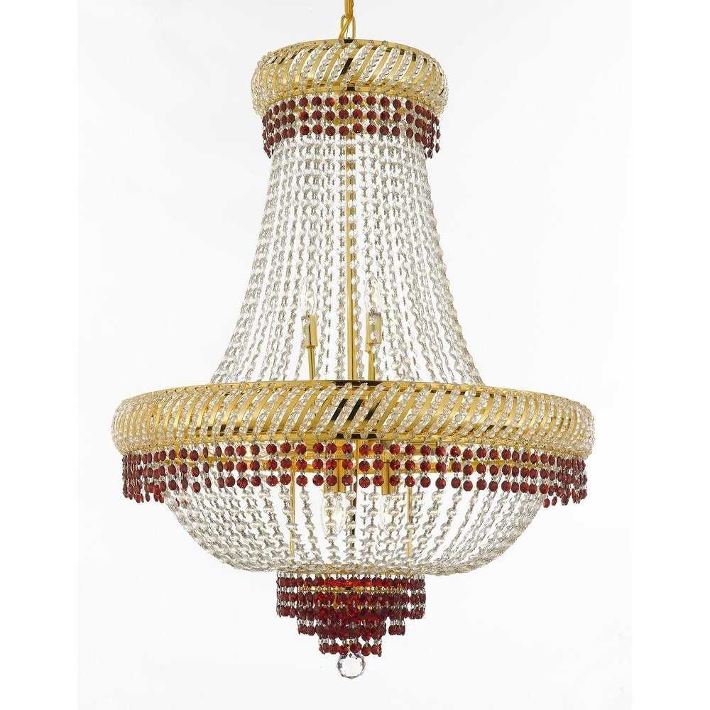 French Empire Crystal Chandelier Chandeliers Lighting Trimmed With Ruby Red Good For Dining Room Foyer Entryway Fami On Free