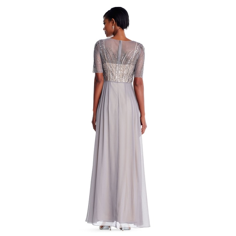 24e0c156da82 Shop Adrianna Papell Short Sleeve Chiffon Gown Feathered Beaded Bodice,  Deep Platinum, 16P - Free Shipping Today - Overstock - 23579694
