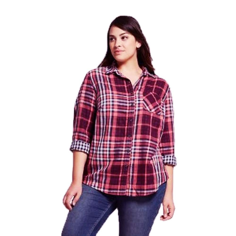 99cd93ef Shop Ava & Viv Women Plus Size Button-Down Long Sleeve Plaid Cotton Shirt -  Plaid Plum - 2X - Free Shipping On Orders Over $45 - Overstock - 26971262