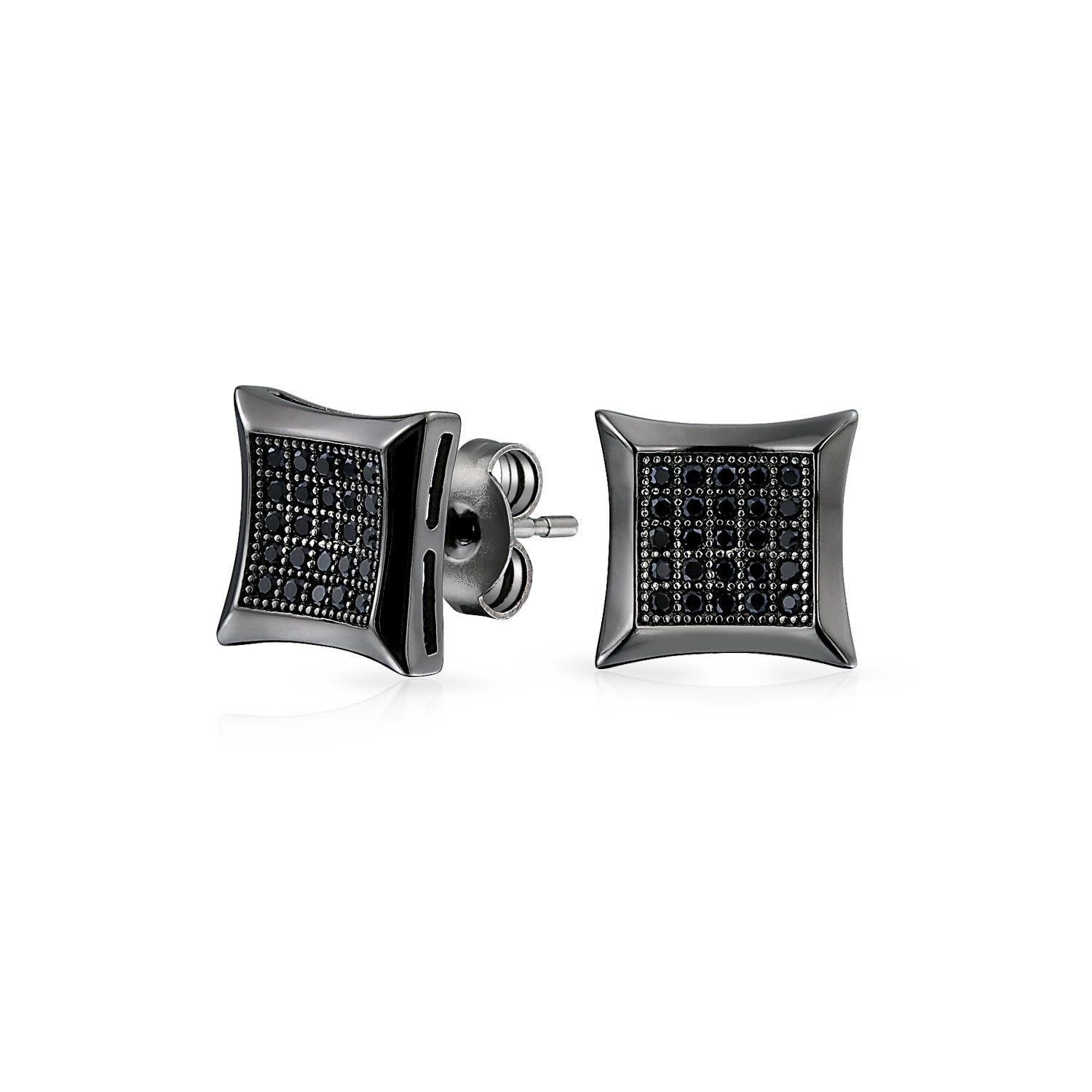 Shop Bling Jewelry Micro Pave CZ Kite Studs Black Rhodium Plated
