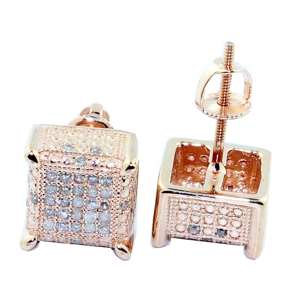 64e0867224e91 0.3cttw Diamond Earrings Cubes 10K Rose Gold Square 9mm Wide Screw Back  Mens By MidwestJewellery - White