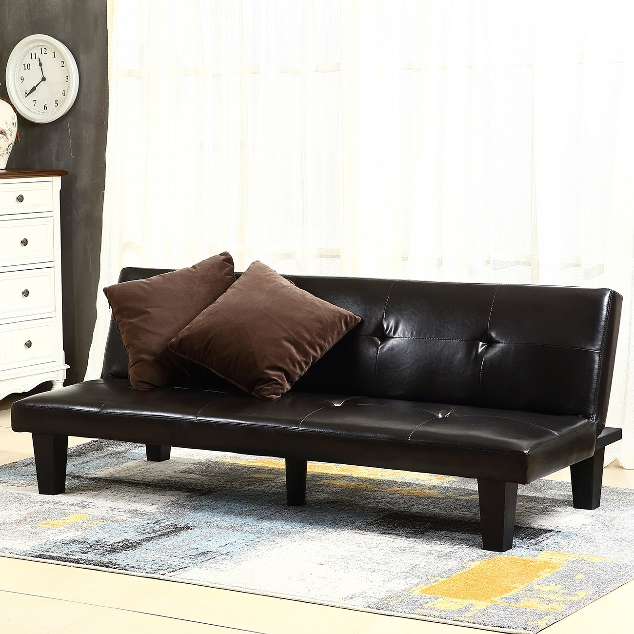 Belleze Convertible Sofa Faux Leather Futon Bed Sleeper Couch W 2 Pillow Brown Free Shipping Today Com 15960092