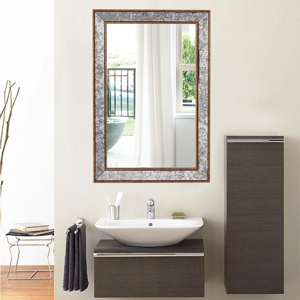 Shop Costway 36\'\' Wall Mirror Beveled Rectangle Vanity Bathroom ...