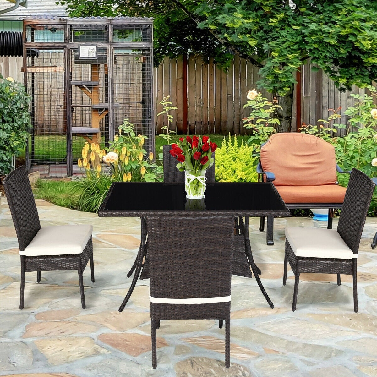 Costway 5 Piece Outdoor Patio Furniture Rattan Dining Table Cushioned Chairs Set On Free Shipping Today 20445706
