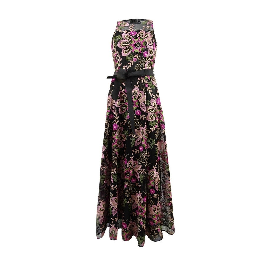 d5e6a12a545f Shop Tahari ASL Women's Embroidered A-Line Gown (4, Black/Fuchsia/Green) -  black/fuchsia/green - 4 - Free Shipping Today - Overstock - 23502258