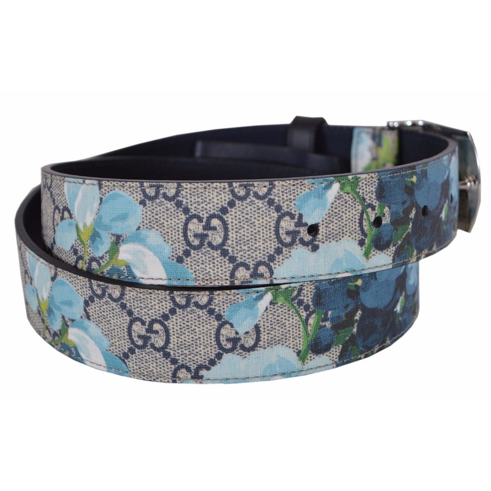 8aca423bd2d Shop New Gucci Men s 424674 GG Supreme Canvas Blue Blooms Logo Buckle Belt  38 95 - Free Shipping Today - Overstock - 18945314