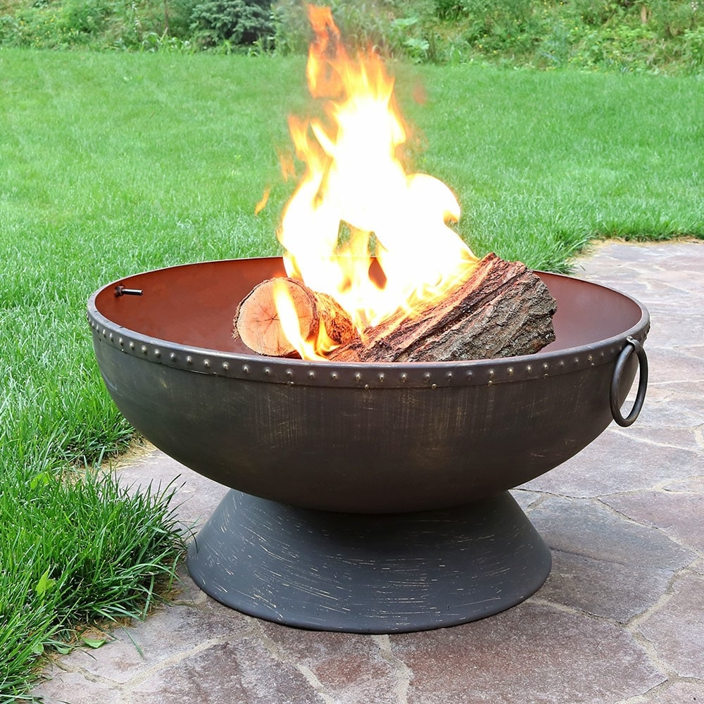 3db648bae5d46 Sunnydaze Outdoor Firebowl Fire Pit with Handles and Spark Screen - 30-Inch