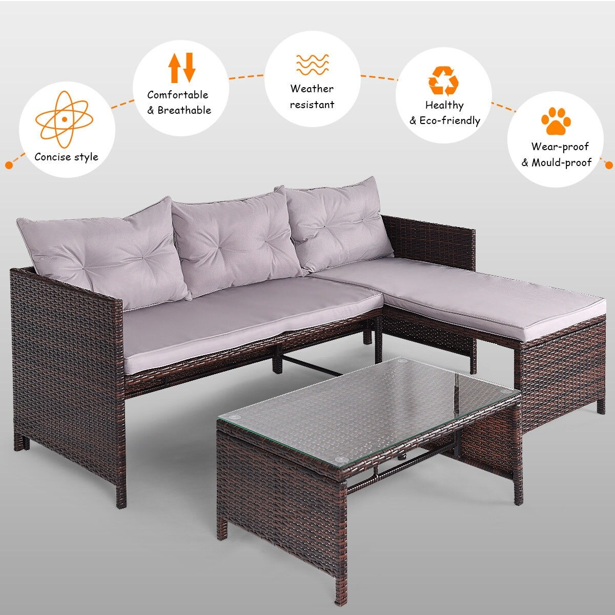 Costway 3 Pcs Outdoor Rattan Furniture Sofa Set Lounge Chaise Cushioned Patio Garden New As Pic Free Shipping Today 16386651