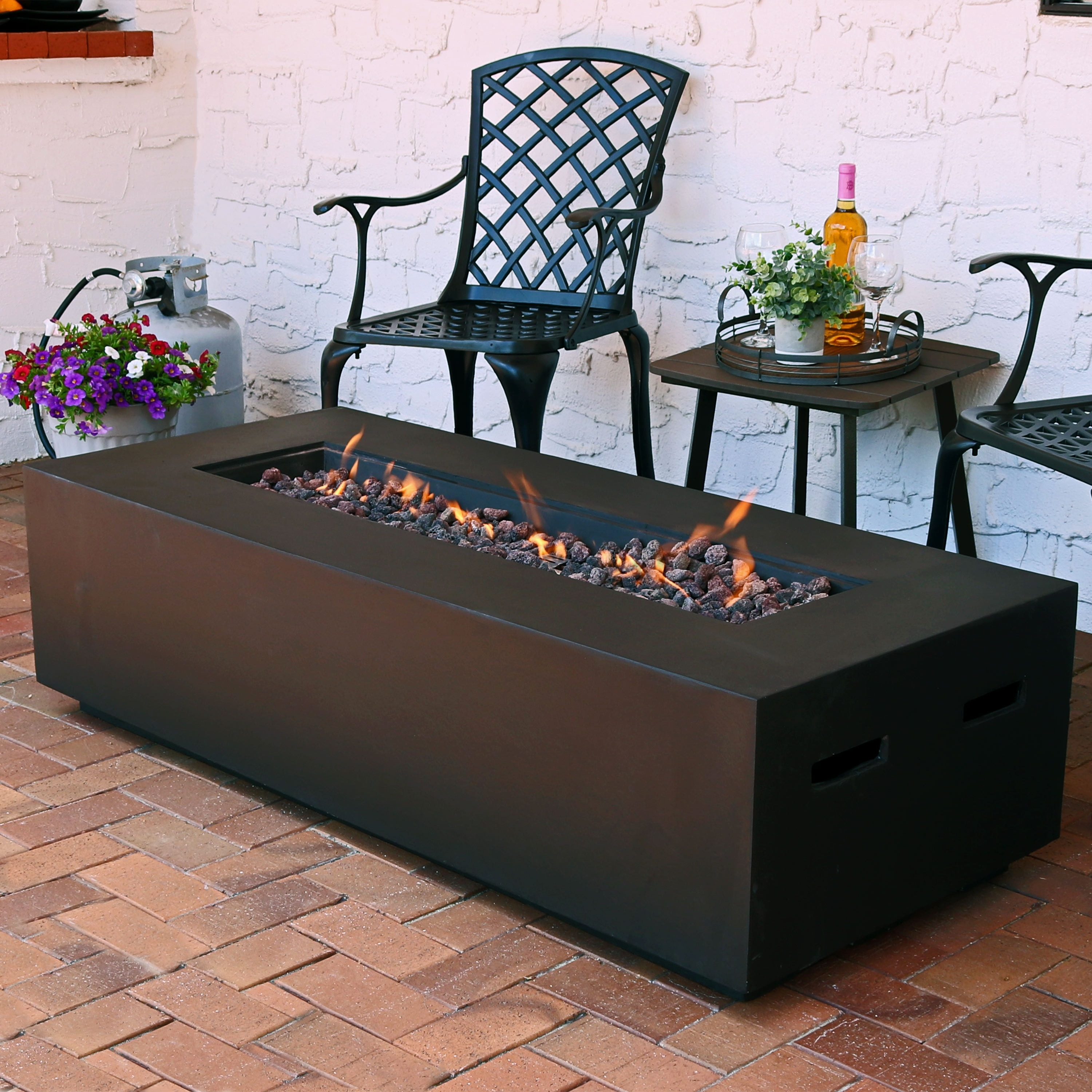 Sunnydaze Brown Lp Gas Modern Fire Pit Coffee Table With Lava Rocks 56 Inch