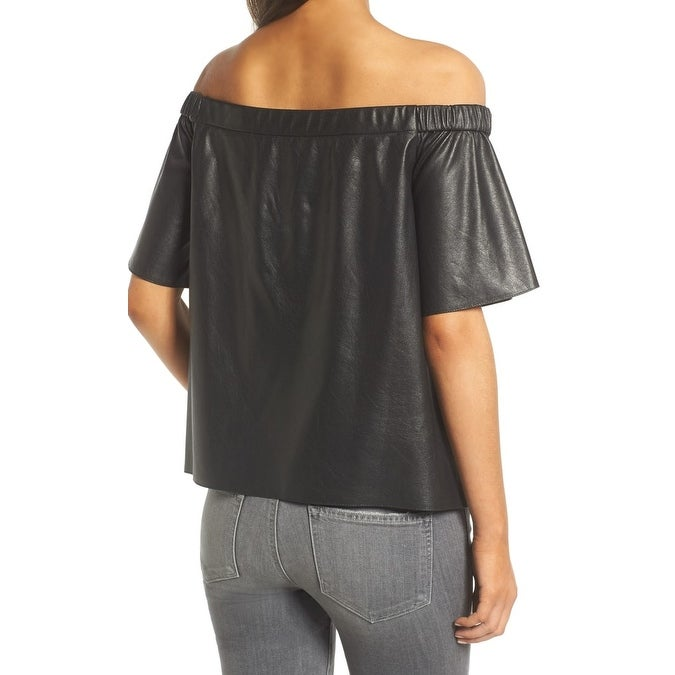 9a36c32cce7c4 Shop Bailey 44 Black Womens Size XS Off Shoulder Faux-Leather Blouse - Free  Shipping Today - Overstock - 22315887