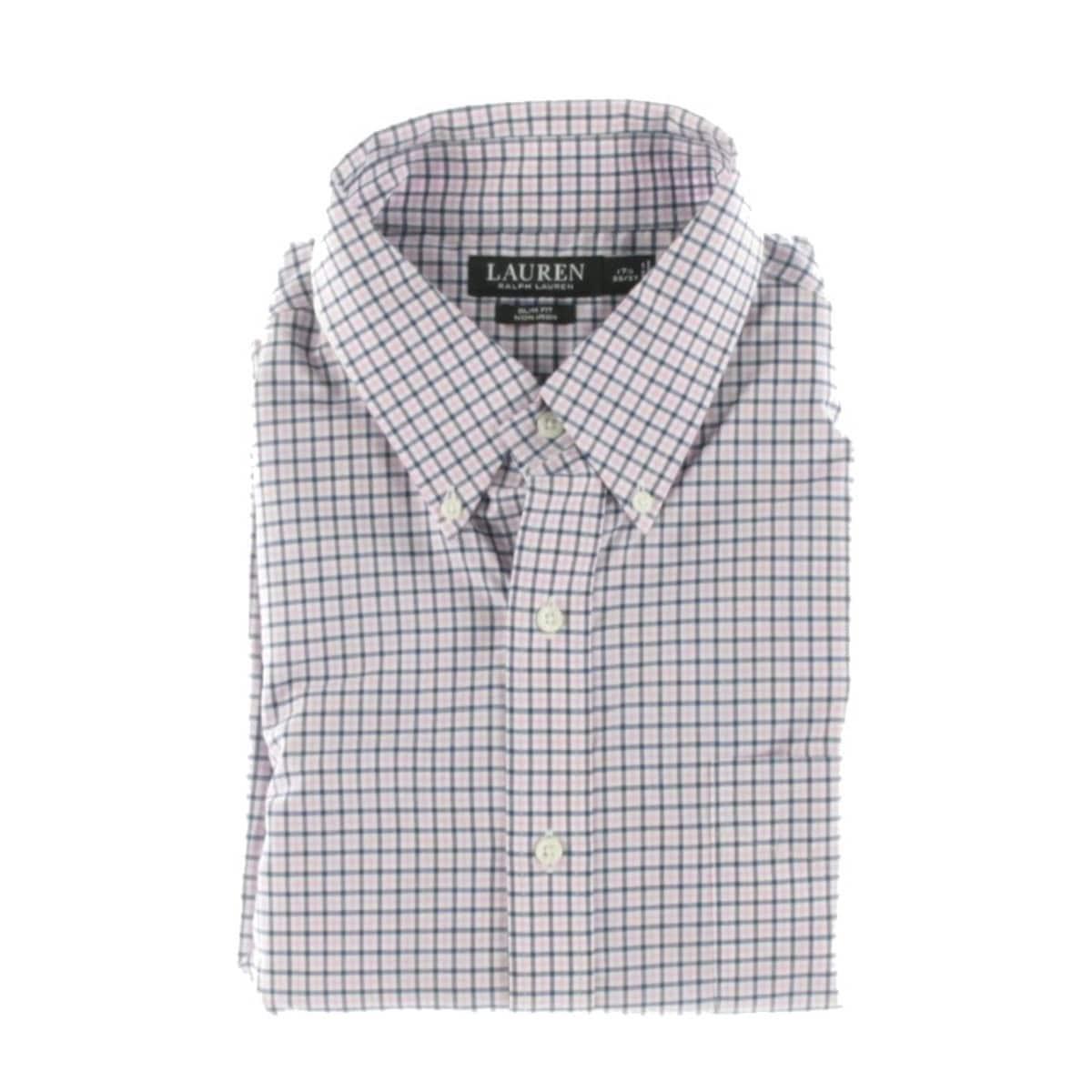 Lauren Ralph Lauren Mens Dress Shirt Non Iron Slim Fit