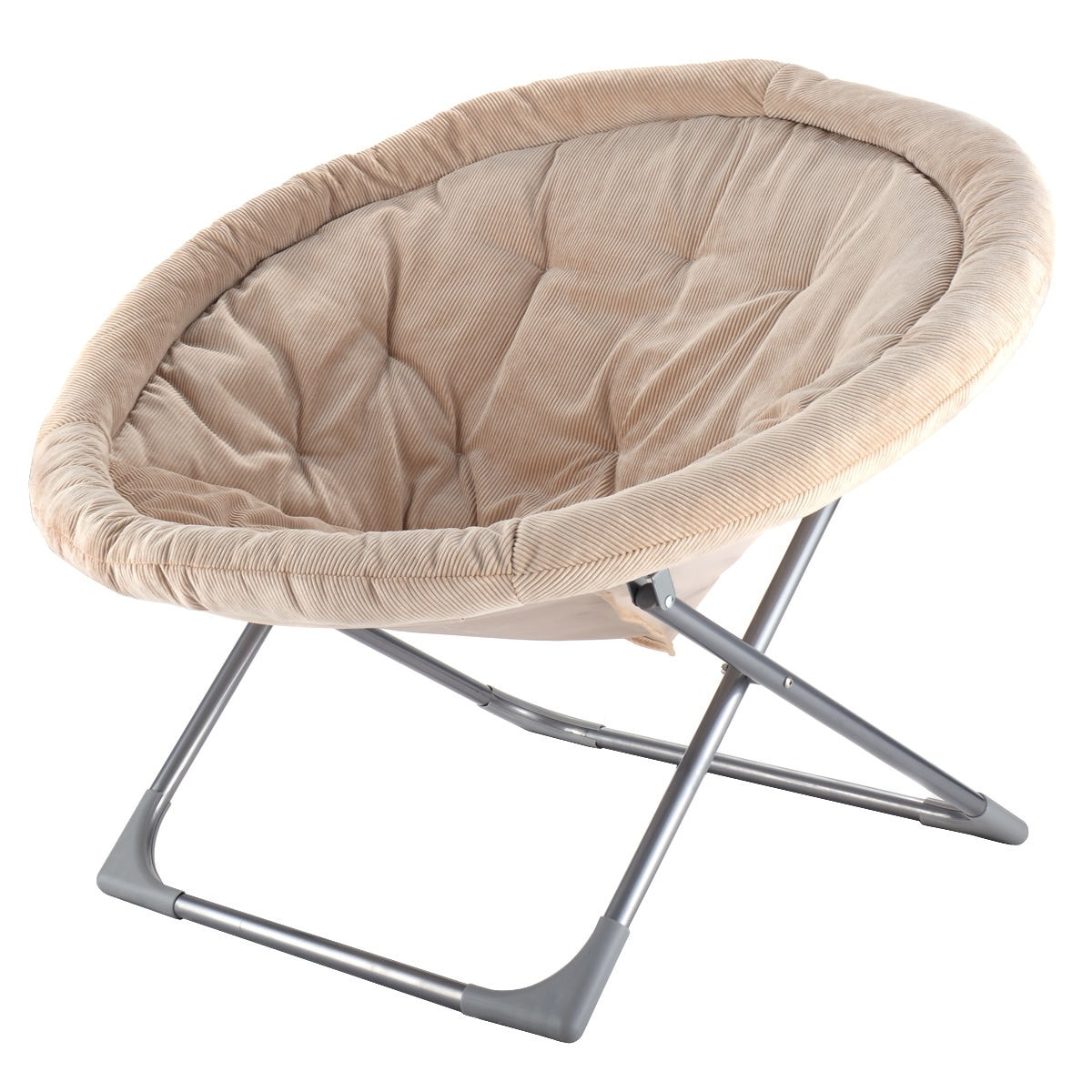 Costway Oversized Large Folding Saucer Moon Chair Corduroy Round ...