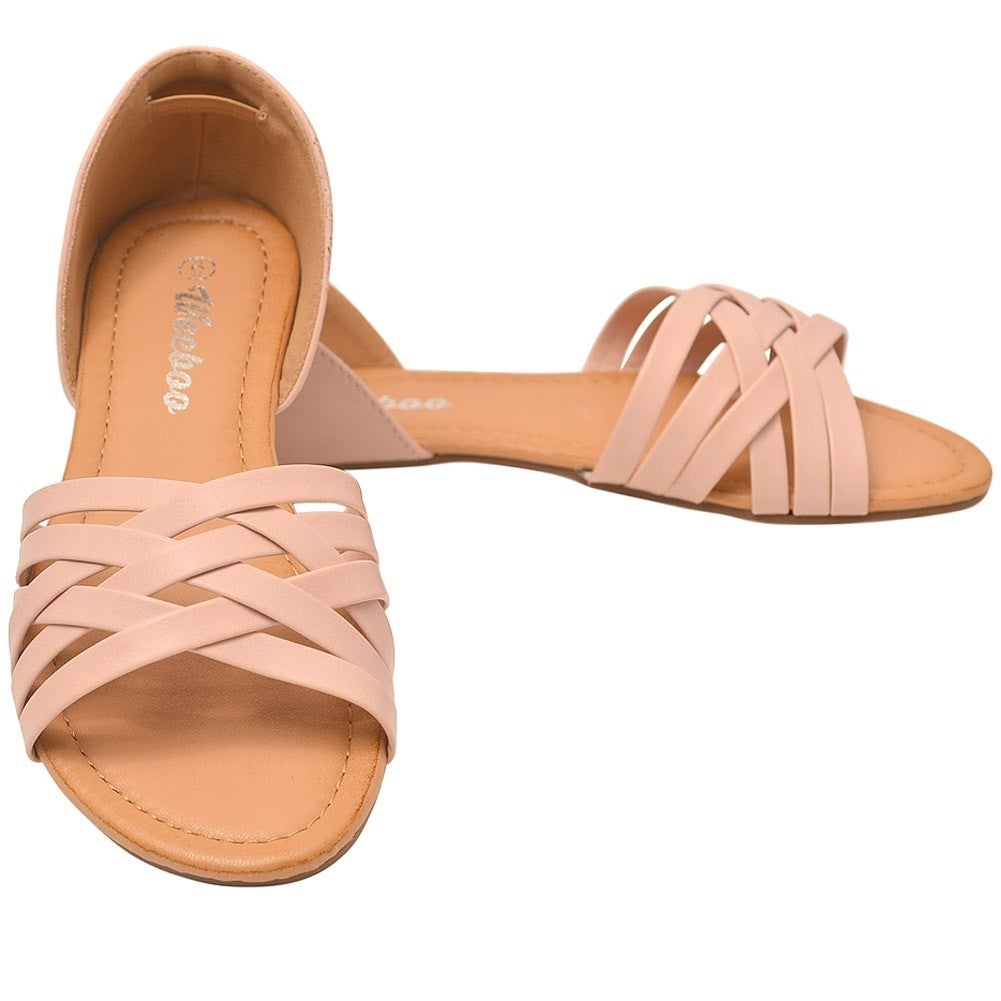 e07fa588e444 Shop Weeboo Adult Blush Criss-Cross Straps Closed Heel Flat Sandals - Free  Shipping On Orders Over  45 - Overstock - 22122824
