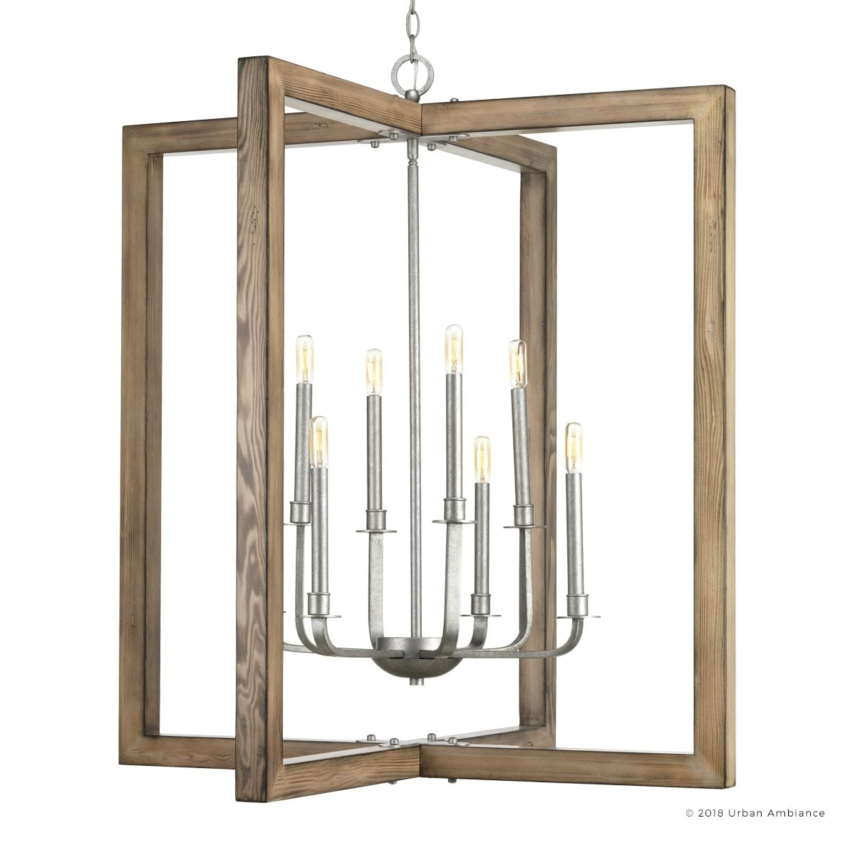Shop luxury modern farmhouse chandelier 39h x 36w with rustic style galvanized steel finish by urban ambiance free shipping today overstock com