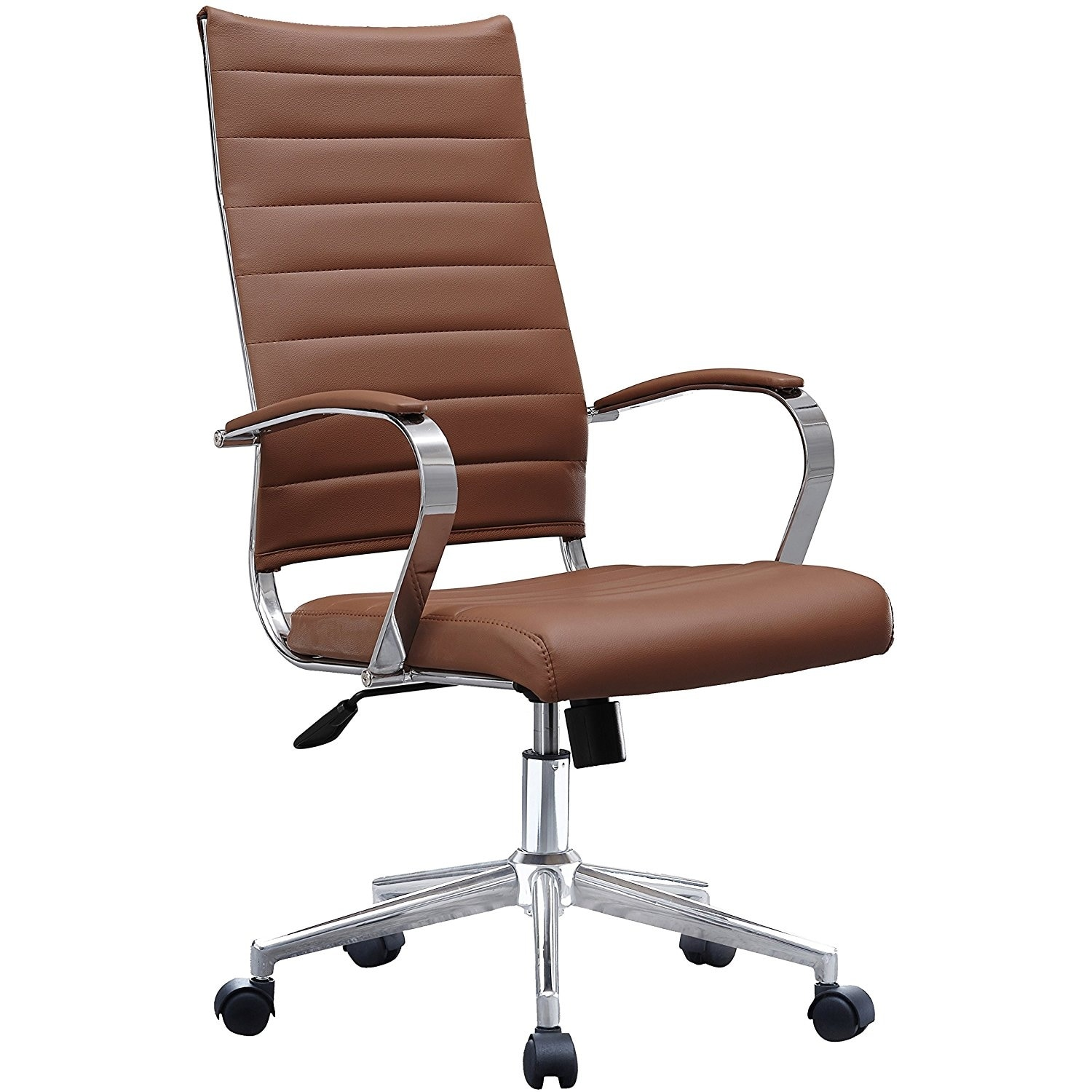 shop 2xhome modern brown high back office chair ribbed pu leather