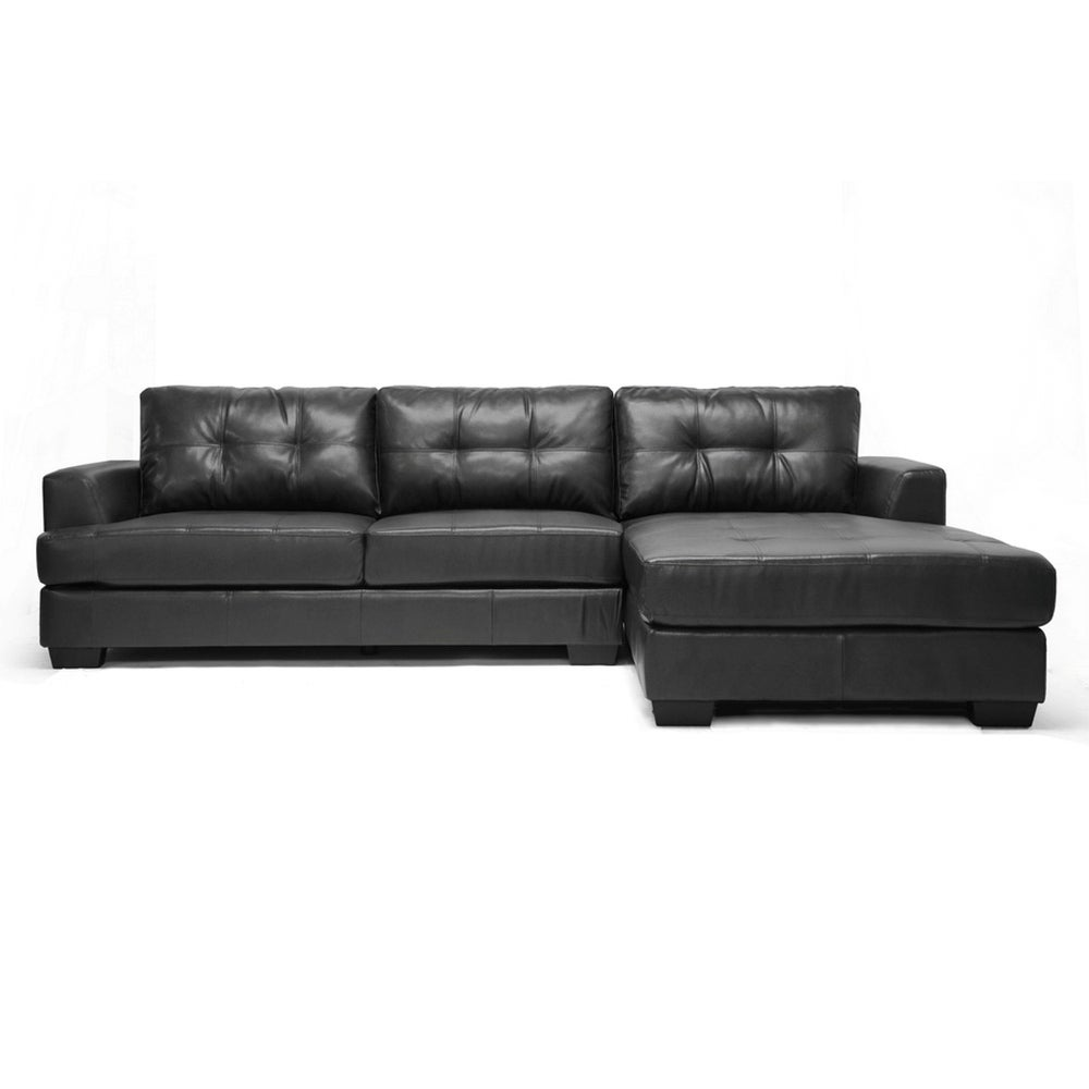 Shop Dobson 2pcs Black Bonded Leather Sectional Sofa Chaise Set