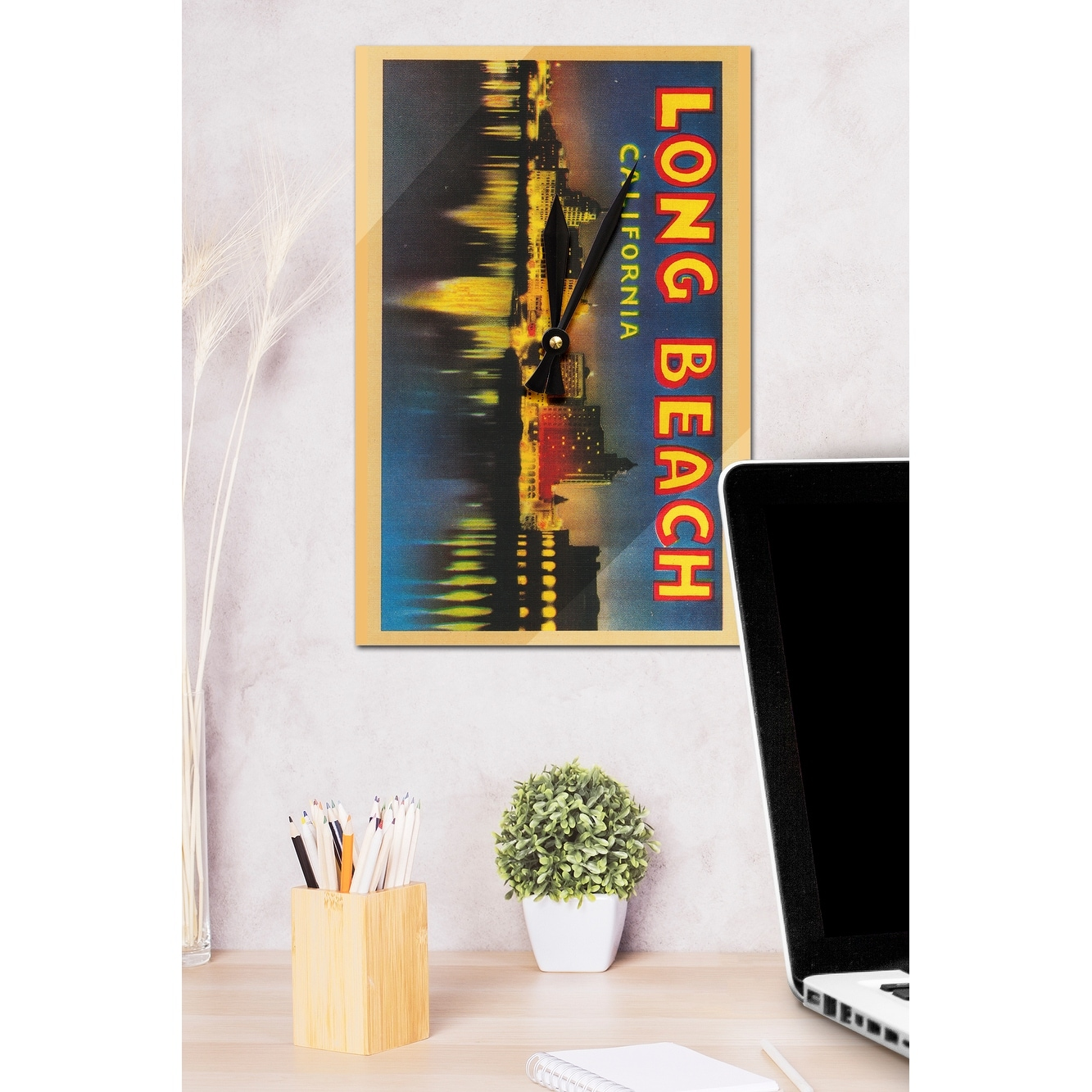 Shop Greetings From Long Beach Ca Vintage Halftone Acrylic Wall