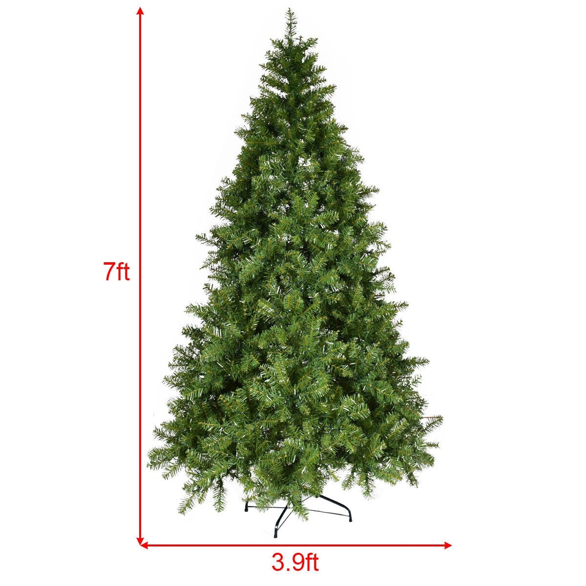 Shop Costway 7Ft Pre-Lit Artificial PVC Christmas Tree Spruce Hinged ...