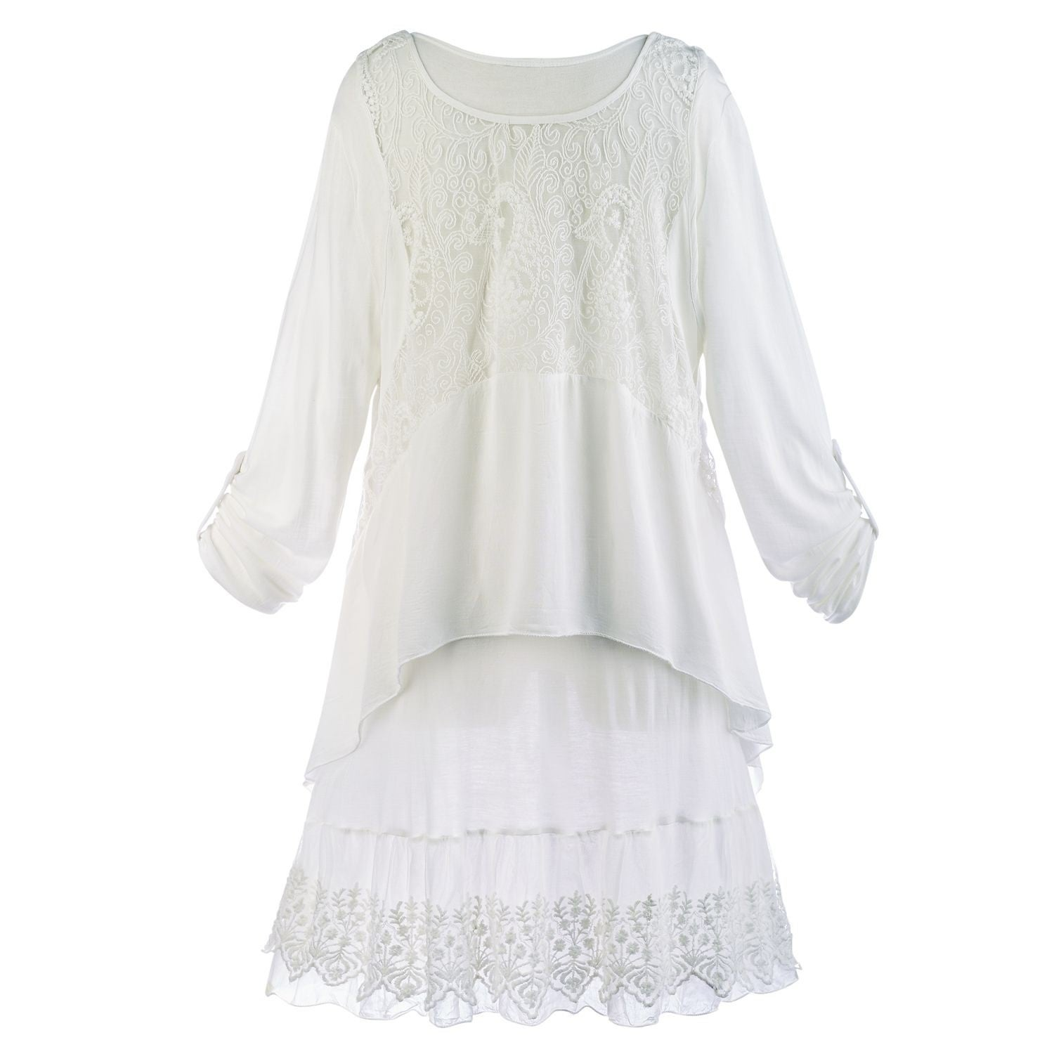 930ac4c4999 Shop Women's Wispy White Tunic Set - Long Roll-Tab Sleeves Tunic Top & Lace  Tank - Free Shipping Today - Overstock - 20744389