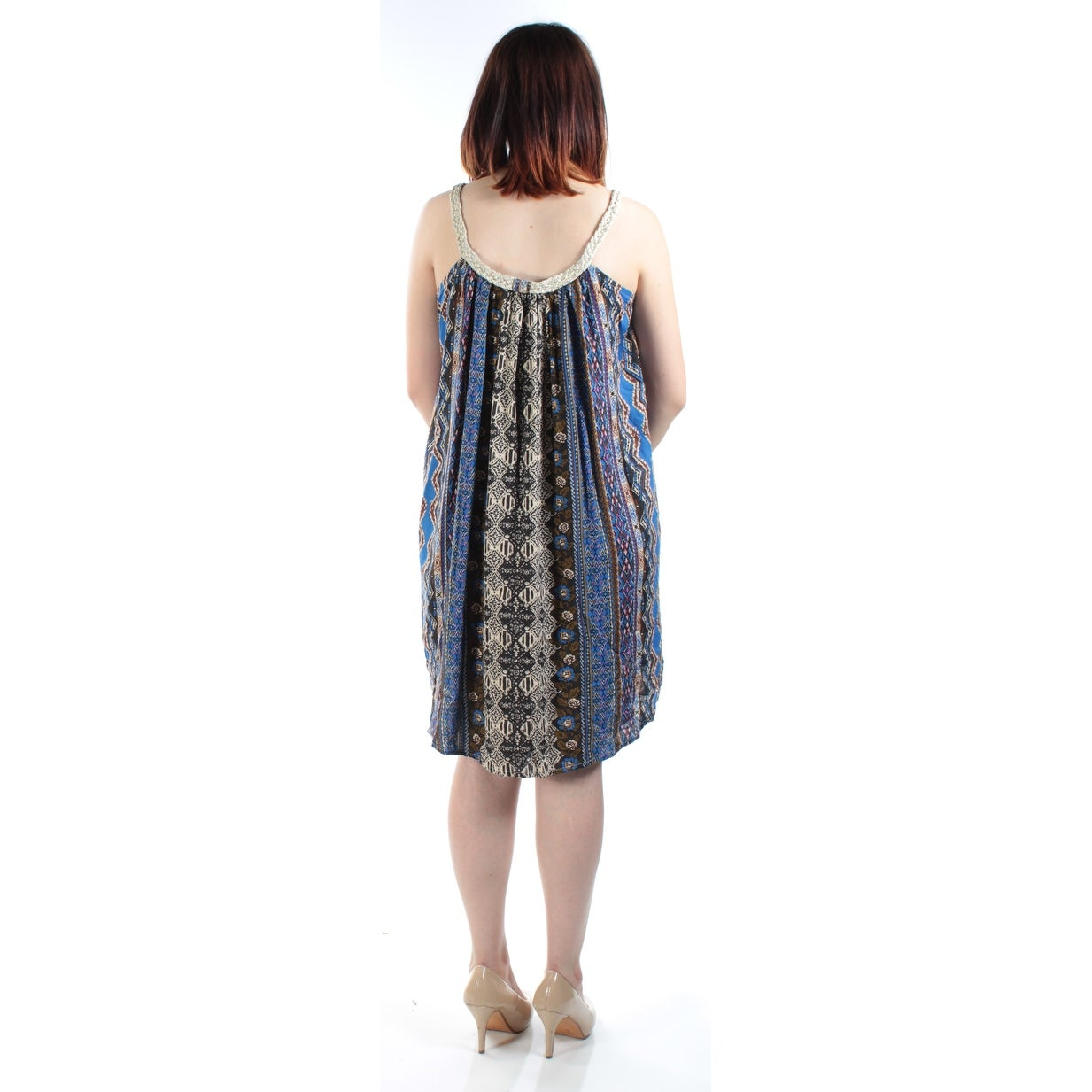 a01f33145 Shop AMERICAN RAG Womens Blue Tribal Sleeveless Scoop Neck Above The Knee Shift  Dress Size: S - On Sale - Free Shipping On Orders Over $45 - Overstock - ...
