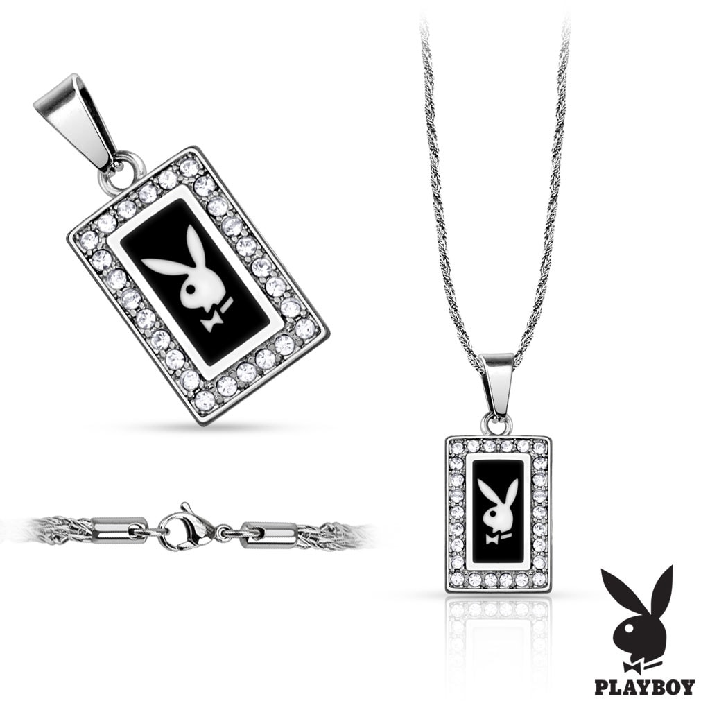 Shop 316L Stainless Steel Rope Chain with Square Playboy Logo Paved ...