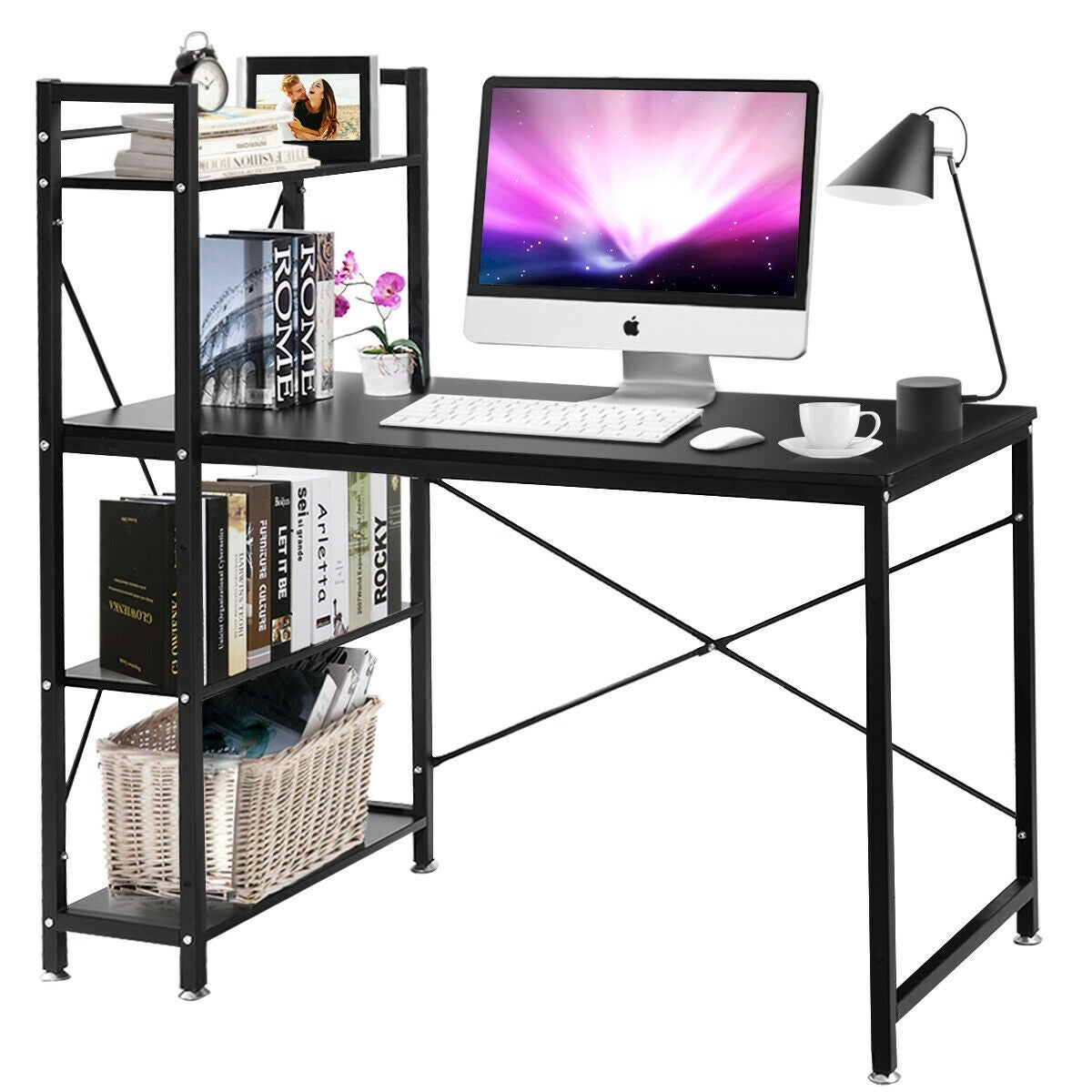 adb5842d75d3 Costway Modern Computer Desk With 4-Tier Shelves PC Workstation Study Table  Home Office